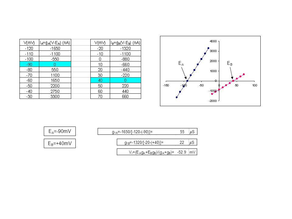 EA EB EA=-90mV EB=+40mV g =-1650/[-120-(-90)]= 55 mS g